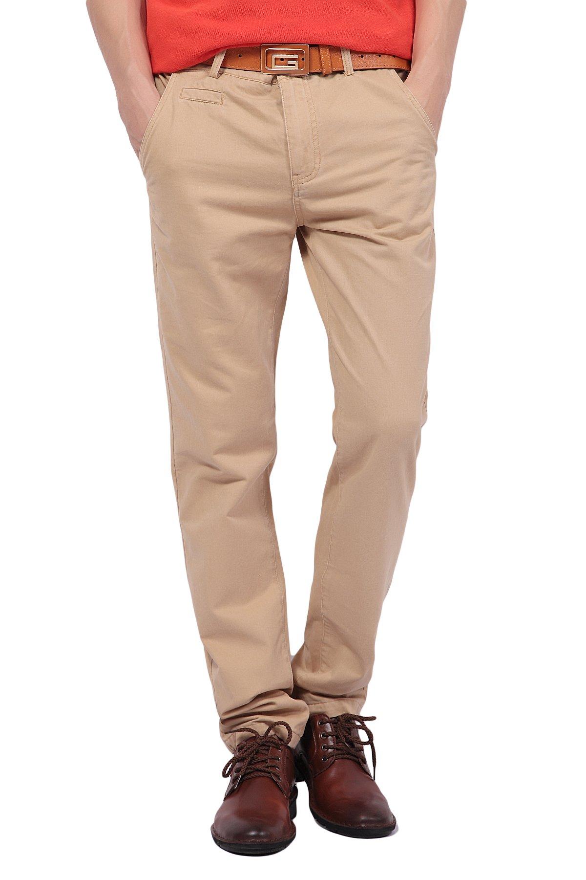 Pau1Hami1ton PH-03 Men's Chino Pants Flat-Front Casual Kaki Twill Slim-Fit Straight Leg(28, Khaki)