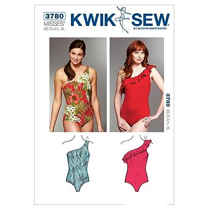 Amazon.com: Kwik Sew K3780 One Shoulder Swimsuits Sewing Pattern ...