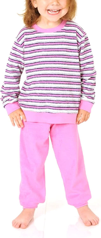 Normann Toller M/ädchen Frottee Pyjama Langarm mit B/ündchen Streifenoptik 53212 Farbe:rosa;Gr/ö/ße:164