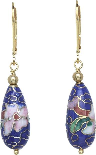 Dangle and Drop Earrings Cloisonne Earrings Blue Cloisonne Cherry Blossom Earrings Sterling Silver Earrings Enameled Earrings