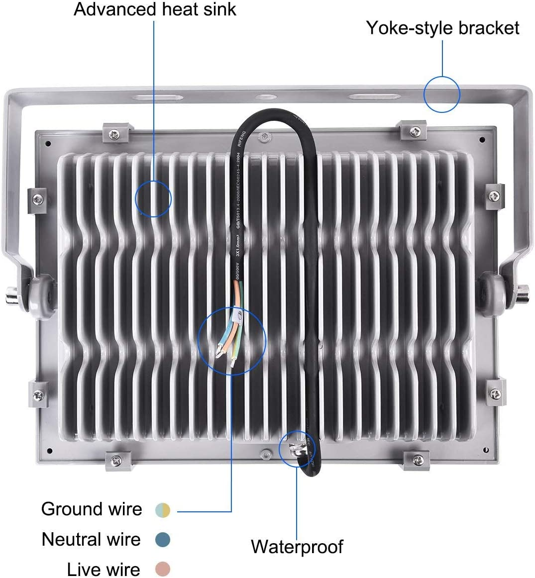 IP65 Impermeable Proyector led exterior,LED Focos Iluminaci/ón para Jard/ín,Garaje,Patio,Estadio. LED Floodlight 12000LM 3200k Viugreum 100W Foco LED Exterior Blanco C/álido