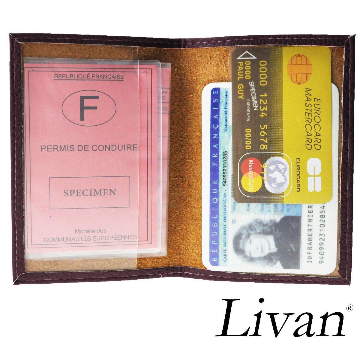 LIVAN Bleu L0007 Porte papiers Voiture permis de Conduire Carte didentit/é en Cuir Vachette