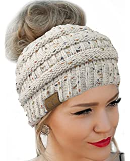 FENGGE Messy Bun Hat Quality Knit Soft Stretch Winter Warm Cable Knit Fuzzy  Lined Ear Warmer e8d68d4a4532