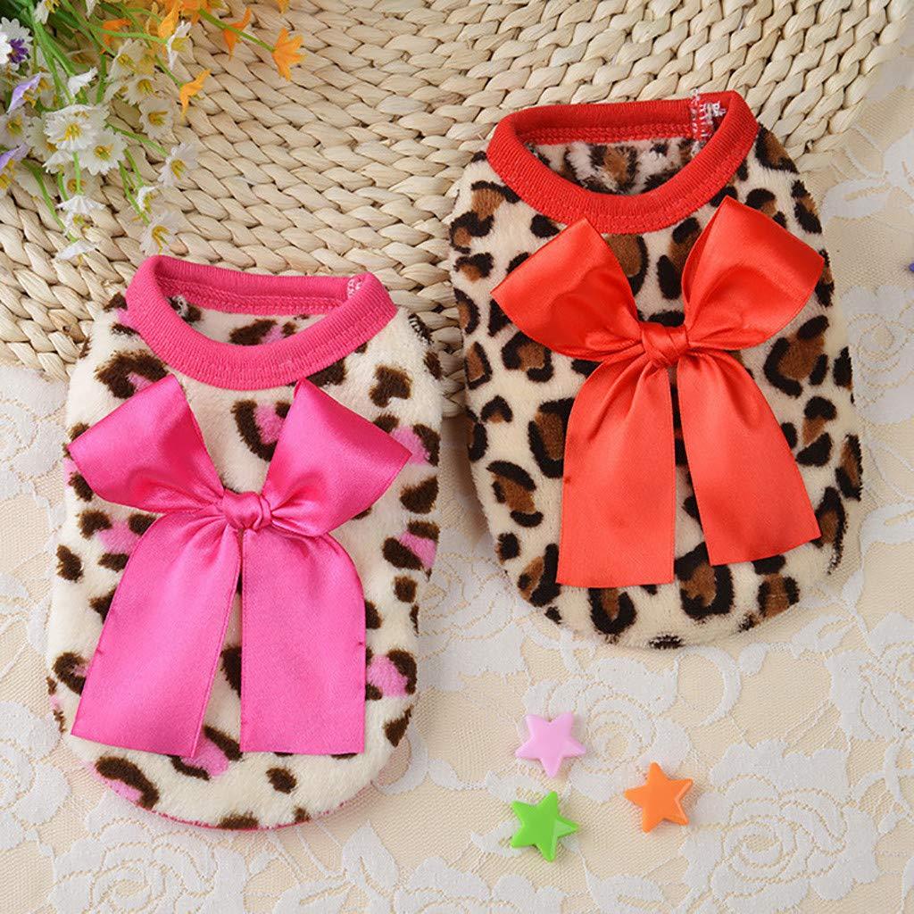 ropa para perros chaleco disfraz ropa hawkimina Camiseta c/ómoda para perros peque/ños flor leopardo ropa para perros disfraces de mascotas con arco large rojo