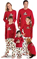PajamaGram Vermont Teddy Bear Christmas Matching Family Pajamas, Red