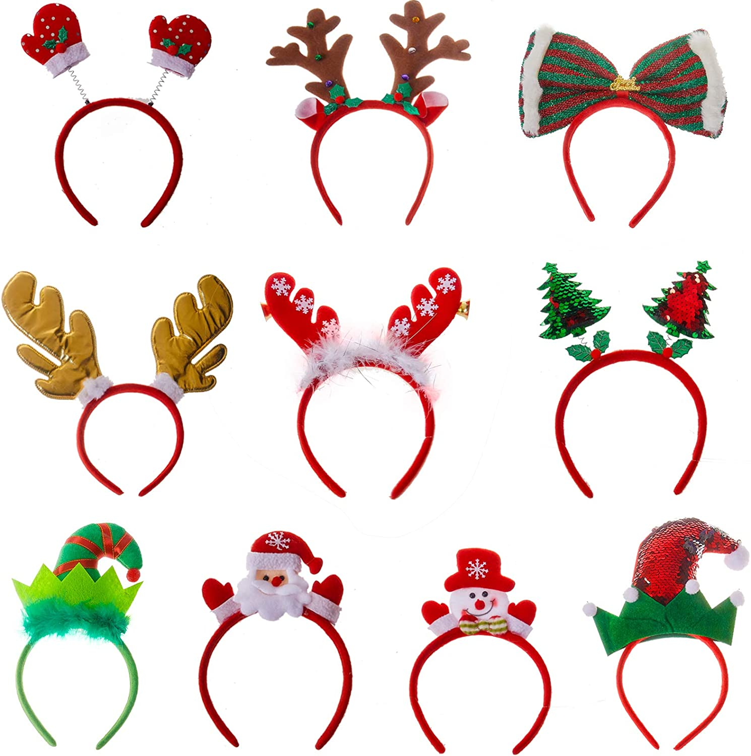 Holiday Headwear for Kids Adults Accessory for Party Favors Photo Props Assorted Designs Reindeer Antlers Elf Hat Santa Claus Bulk 10 Pack of Christmas Headband Size Fits All Ages