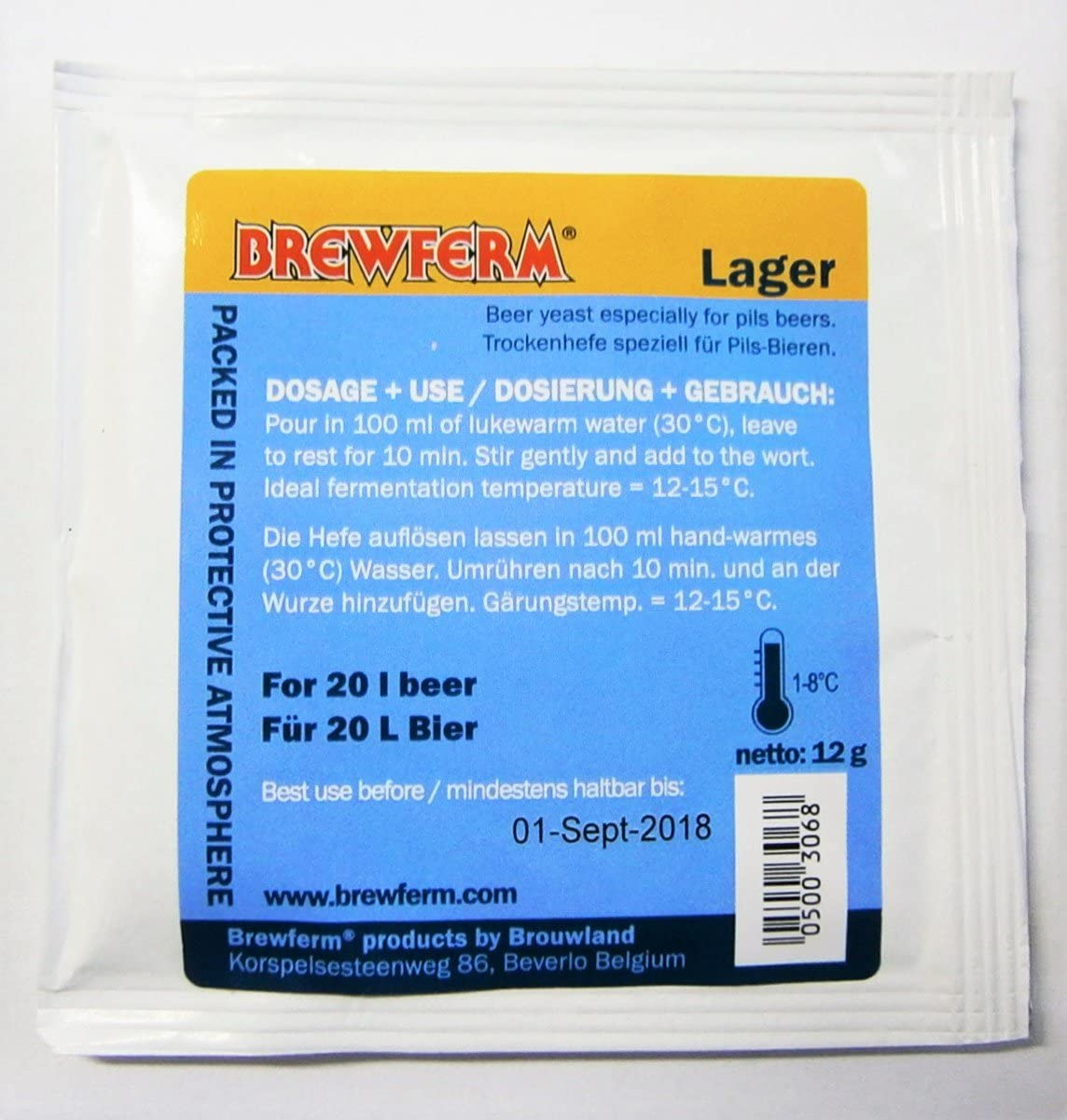 Brewferm Lager - Levadura de cerveza, para fermentación casera, cerveza hecha en casa, estilos de cerveza, cepas de levadura para cerveza, fermentación alta o baja