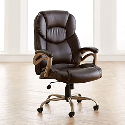 BrylaneHome Extra Wide Memory Foam Office Chair (Cognac,0)