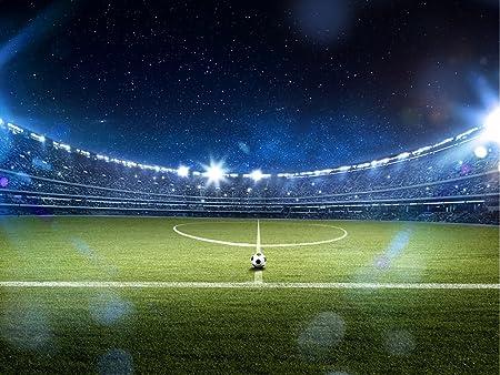vanilla football stadium under dark blue night sky non woven fabric