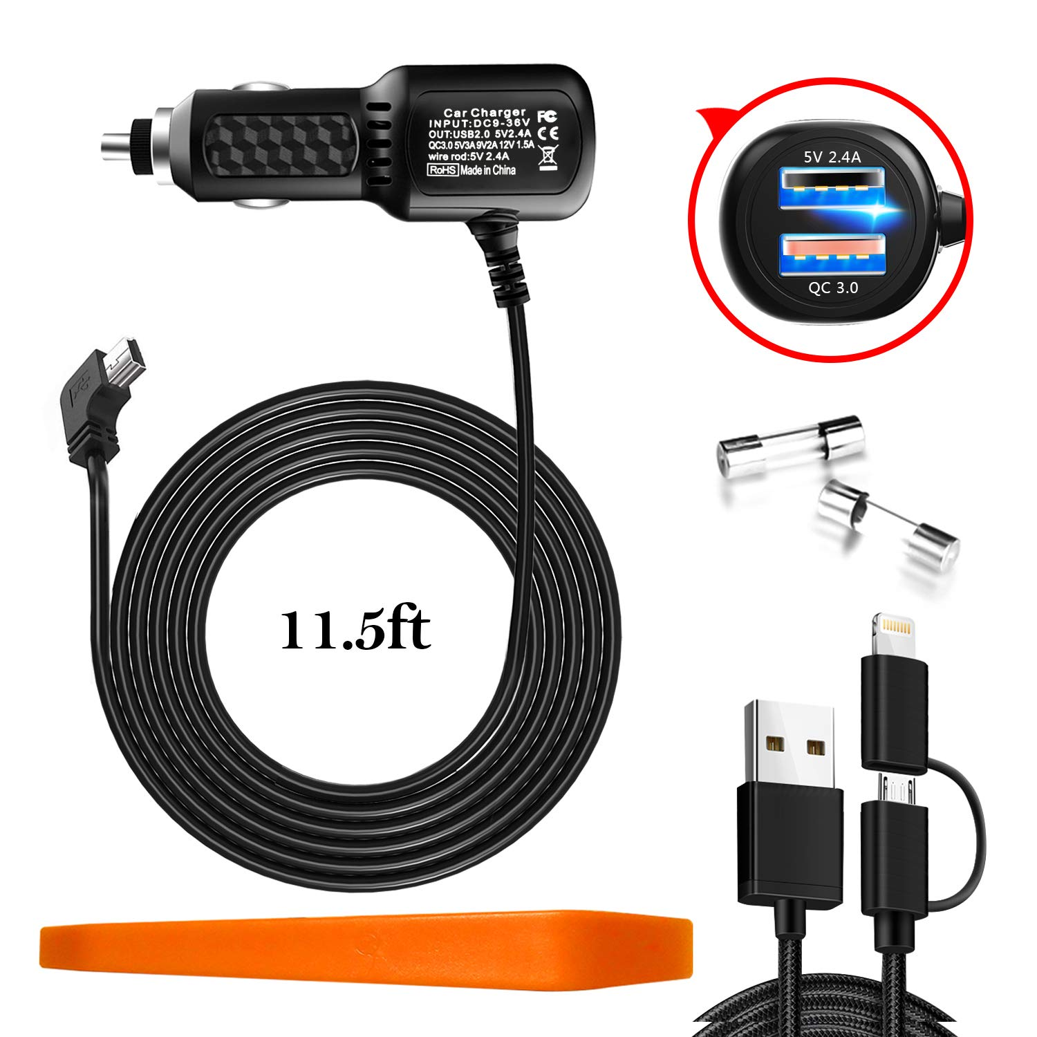Car Charger for Garmin Nuvi,Garmin car Charger,Garmin GPS Charger Cable,Mini USB Power Cord Cable Dual Port USB Vehicle Power Charging Cable Cord for Garmin Nuvi 200 57LM C255 2539LMT 2597LMT Dashcam