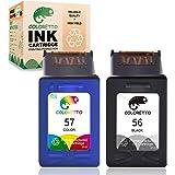 COLORETTO Remanufactured Printer Ink Cartridge Replacement for HP 56 57 HP Deskjet 450 450ci 450cbi Photosmart 7150 7150v Off