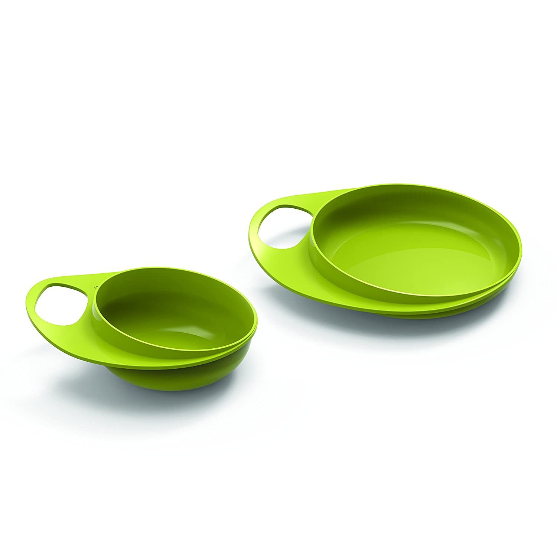 Nuvita 8461 Easy Eating Teller Sch/üssel Set BPA und Phthalate frei Baby Kinder Geschirr Set Tischset Schale Sch/üssel Anti-Rutsch Blau Babyteller- Esslernset- Italienisches Design