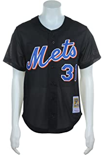 580484a497a Mitchell   Ness Mike Piazza Black New York Mets Authentic Throwback Jersey