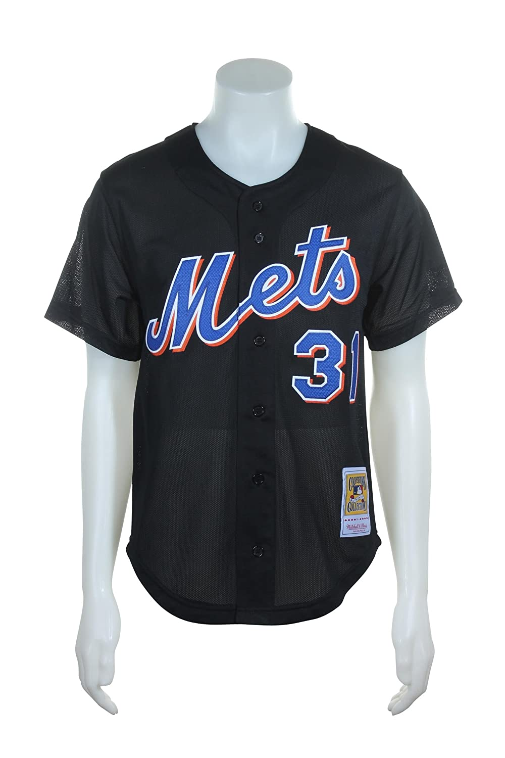 763ac747795 Mitchell   Ness Mike Piazza Black New York Mets Authentic Throwback Jersey