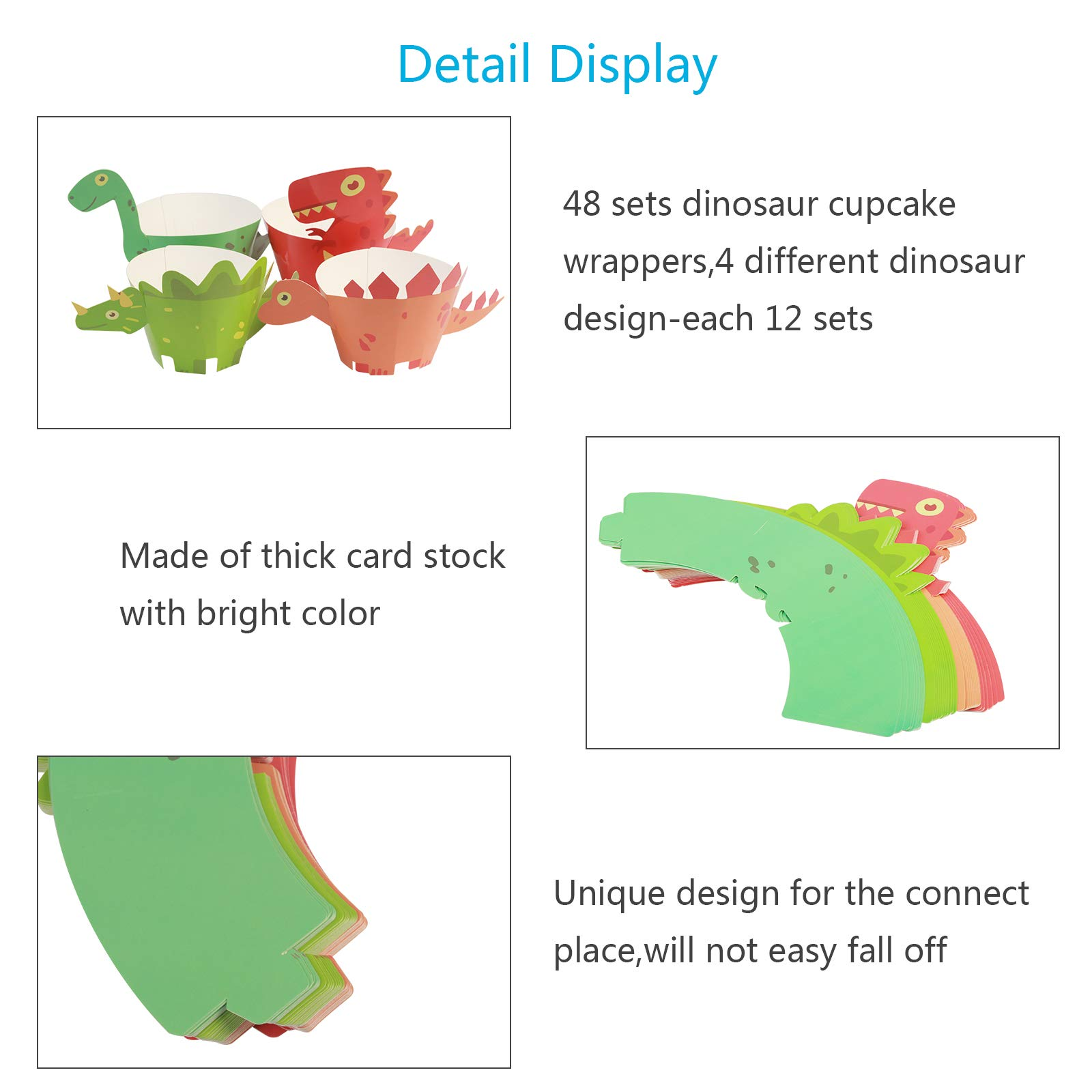 Dinosaur Cupcake Wrappers,LANMOK 48sets Cup Cake Topper Wrappers Jurassic Stegosaurus T-Rex Triceratops Plesiosaurus Cake Decor for Dino Themed Party Supply Baby Shower