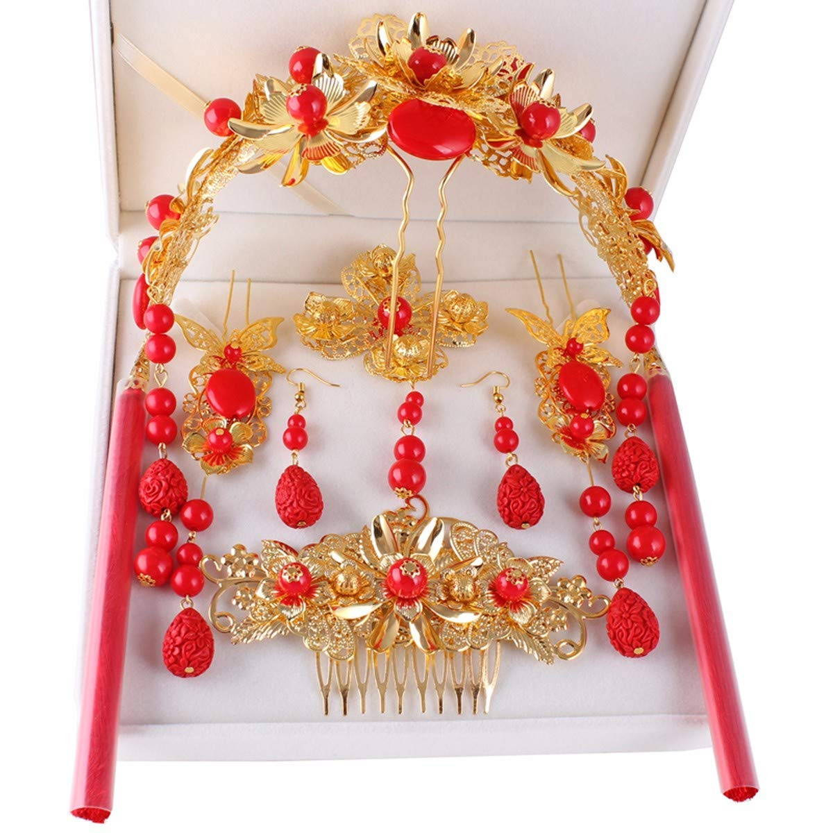 Crystal Crown, Beautiful headdress/Bridal Decorations Ancient Costumes Phoenix Style Red Tassels Chinese Wedding Show And Kimono Hair Accessories.