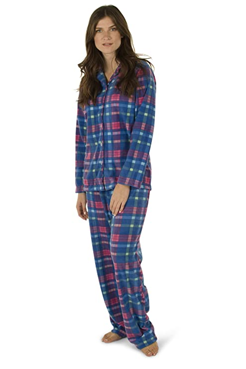 Totally Pink Women's Warm and Cozy Plush Fleece Winter Two Piece Pajama Set Teen and Girls (Small, Blue Plaid) best women's winter pajamas