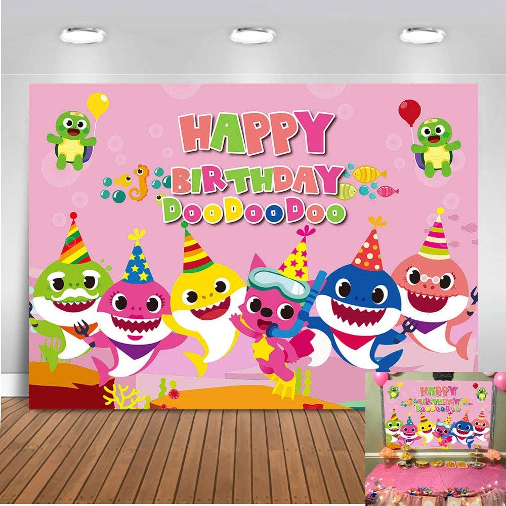 QHY Baby Shark Family Doo Doo Doo Theme Pink Photo Background Children Girl Happy Birthday Party Photography Backdrops 5x3ft Cartoon Animals Theme Studio Props Booth Vinyl