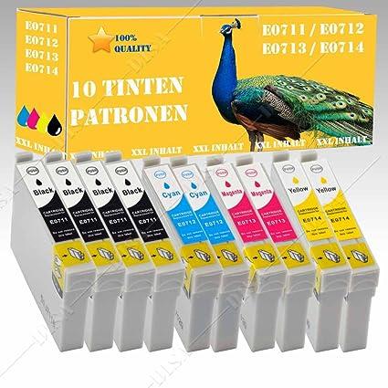 10 x Cartuchos de Tinta XXL con chip compatible con Epson DX4000 ...
