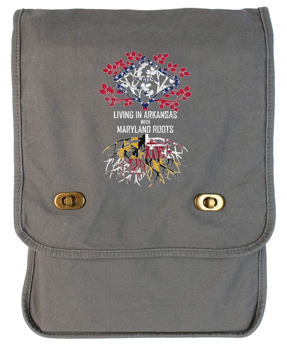 Tenacitee Living In Arkansas with Maryland Roots Grey Brushed Canvas Messenger Bag