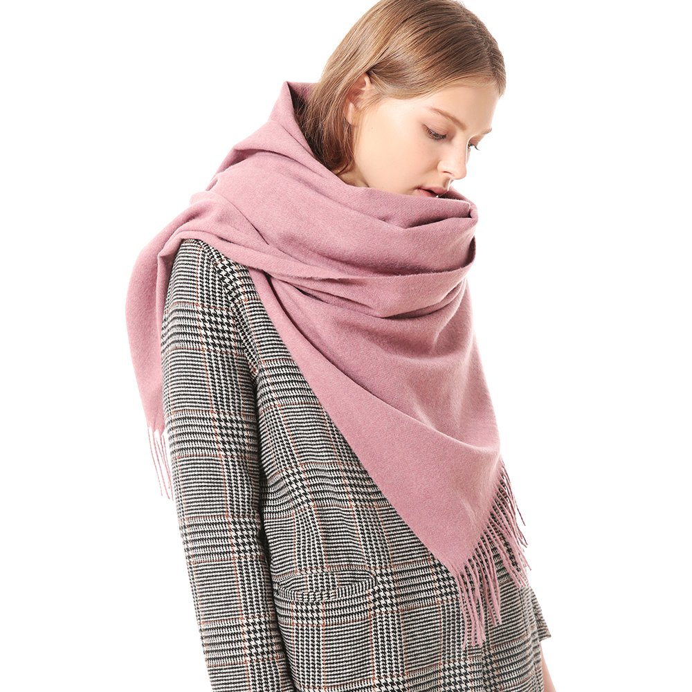 Womens Thick Soft Cashmere Wool Pashmina Shawl Wrap Scarf - Aone Warm Stole(Rubber Pink)
