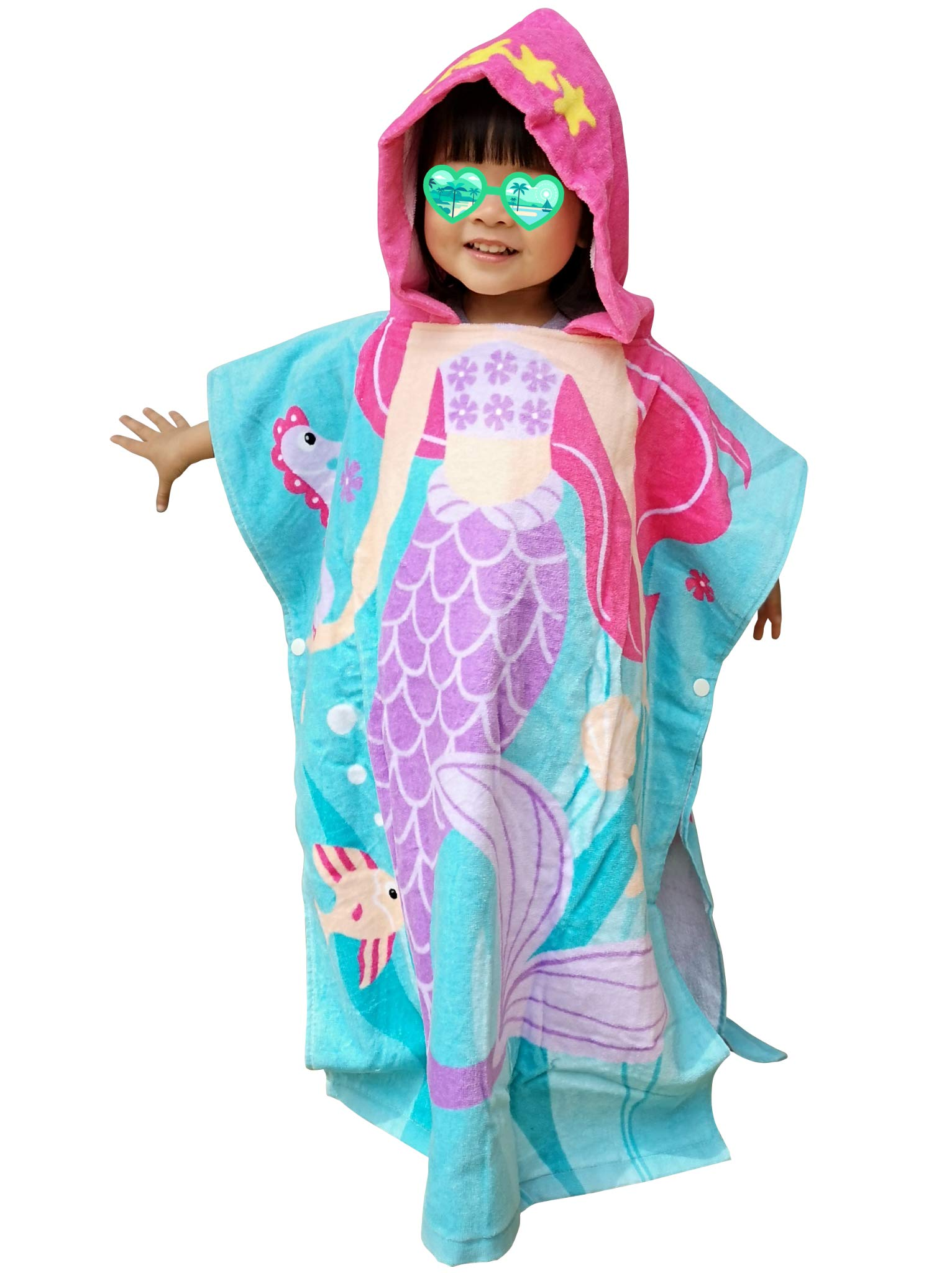 Athaelay Age 2-7 Years Girls Beach Towel, 100% Cotton, Extra Large Size 27.5''X24'' with 11''(W) x12(H) Hood, Use for Swim Cover up/Pool/Bath Robe Hooded Poncho Towels, Mermaid Theme by Athaelay