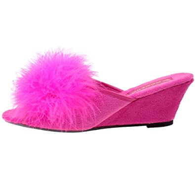 0021d4551c0c3 Ladies DUNLOP Marilyn Fluffy Feather Boa Wedge Heel Slipper Mules Fuchsia  Pink UK 4