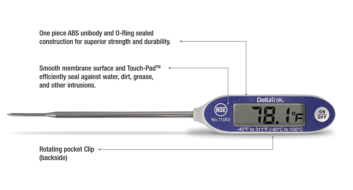 Amazon.com: DeltaTrak 11071 FlashCheck Thermometer Bundle, includes 11063 Auto-Cal Needle Tip Probe and Alcohol Pads: Kitchen & Dining