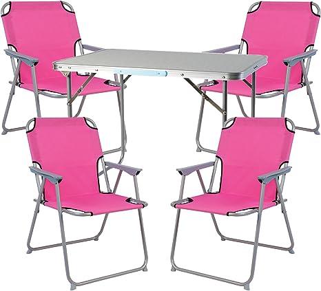 FineHome Juego de muebles de camping de 5 piezas, 1 mesa de ...