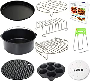 9 Inch Air Fryer Accessories XL 10 PCS with Cupcake Pan, Pizza Pan, Silicone Baking Cup, Recipe Cookbook, 100Pcs Parchment Paper for 5.3Qt - 6.8Qt and Larger Size Phillips Air Fryer Instant Pot