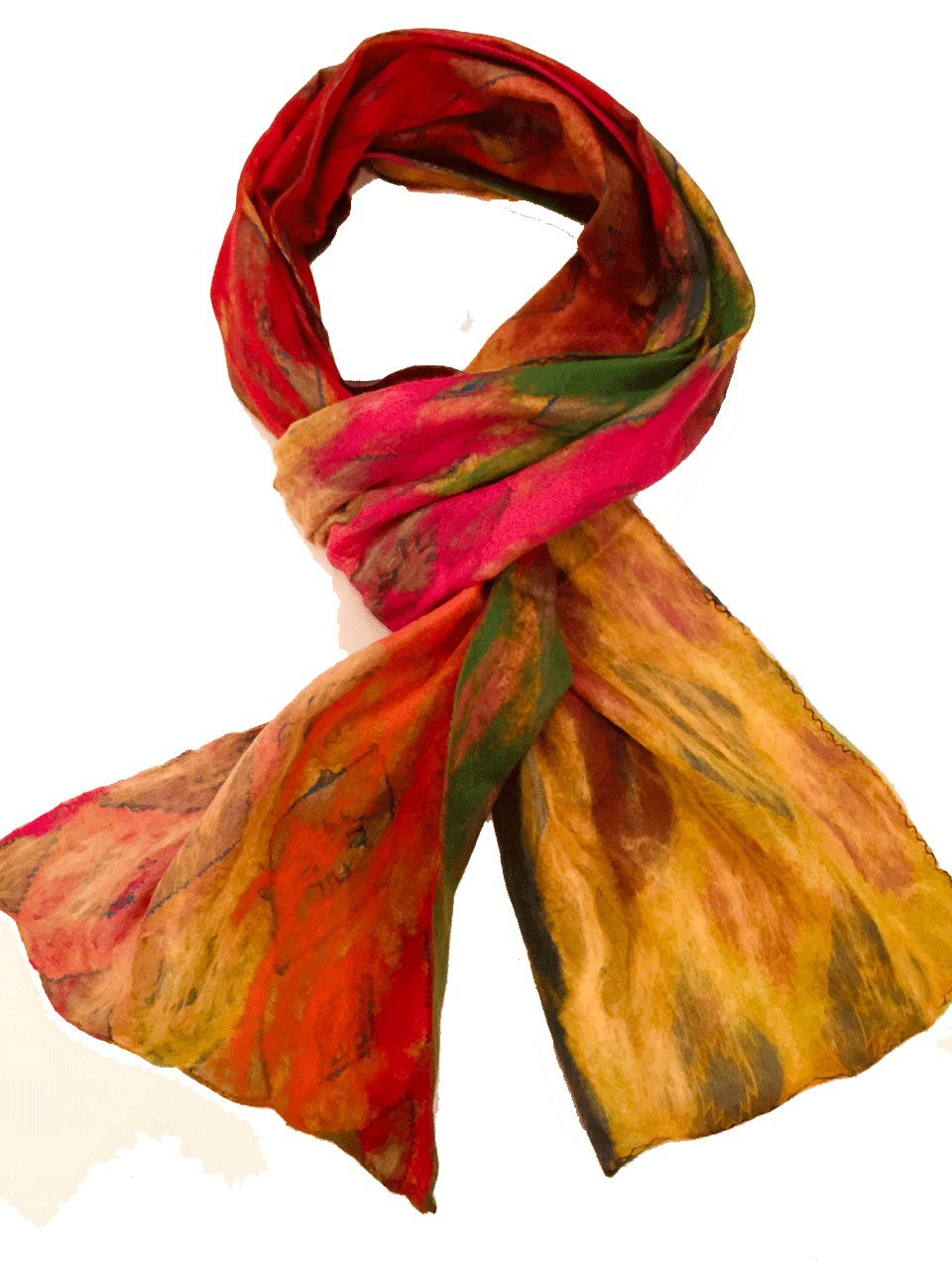 Teramasu One of a Kind Handmade Silk Merino Wool Multicolored Artist Scarf Style 7 by Teramasu
