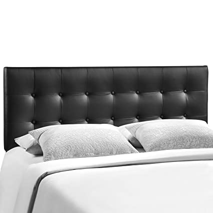Modway Emily Upholstered Tufted Button Fabric King Size Headboard In Black