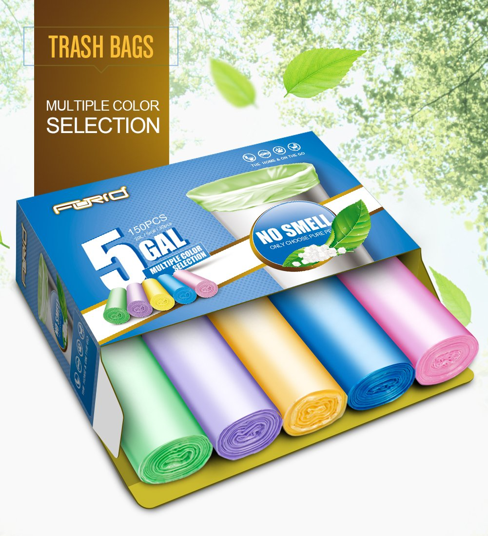 Small Garbage Bags,5 Gallon Trash Bags FORID Trash can Liners for Office,Home Waste bin, Bathroom, Kitchen(5 Colors)