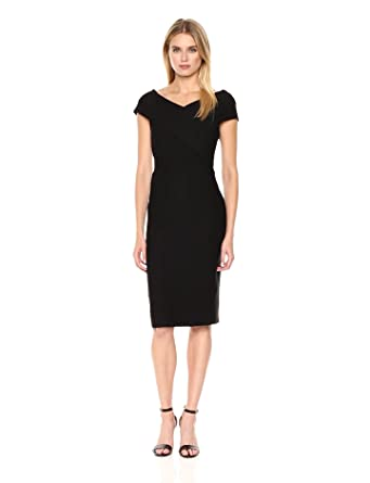 Tommy Hilfiger Women's Ribbed Ponte Criss Cross Top Sheath Dress, Black, 6