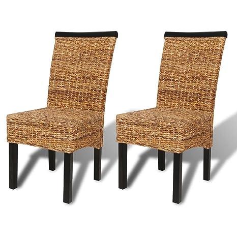 Amazon.com: vidaXL – 2 unidades, ratán silla de mimbre abacá ...