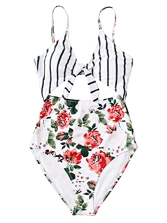 dd6aff427a SweatyRocks Women s Sexy Bathing Suits Tie Knot Front Cutout Floral Print One  Piece Swimwear Floral White