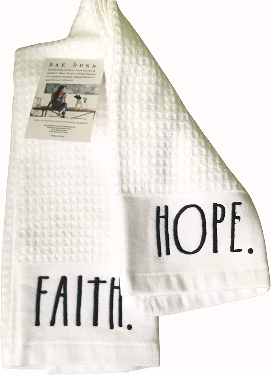 100/% Cotton with Waffle Weave Pattern Rae Dunn Kitchen Towel Set Embroidered Faith /& Hope