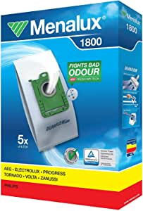 Menalux 1800 - Pack de 5 bolsas sintéticas y 1 filtro para aspiradoras AEG VX4, VX6, VX7, VX8 y VX9, Electrolux y Philips FC: Amazon.es: Hogar