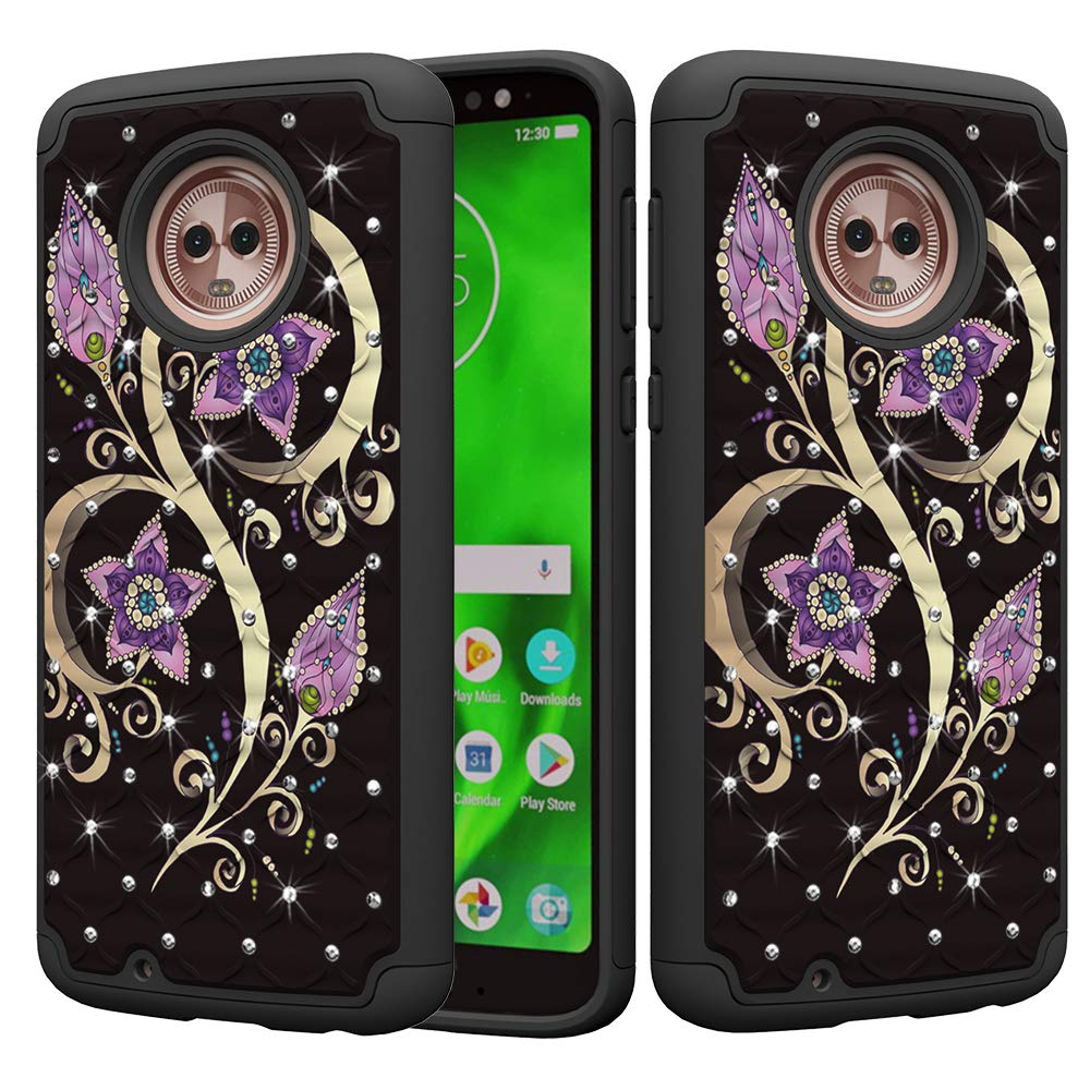 DAMONDY Moto G6 Case, Bling Glitter Diamond 2 in 1 Drop Protection Hybrid Heavy Duty Shock Dual Layer Armor Defender 3D Pattern Case Cover Fit for Motorola Moto G6 5.7 Inch-CAI Dream
