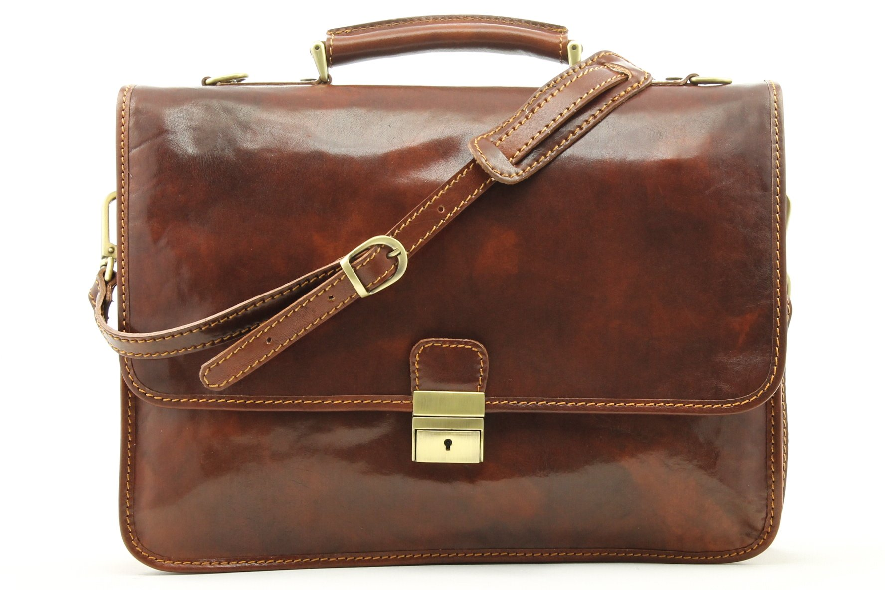 Luggage Depot USA, LLC Men's Alberto Bellucci Italian Leather Double Gusset Laptop Messenger Bag, Brown, One Size