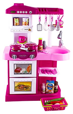 deAO Pink Kitchen Playset With 30 Accessories Role Playing Game ...