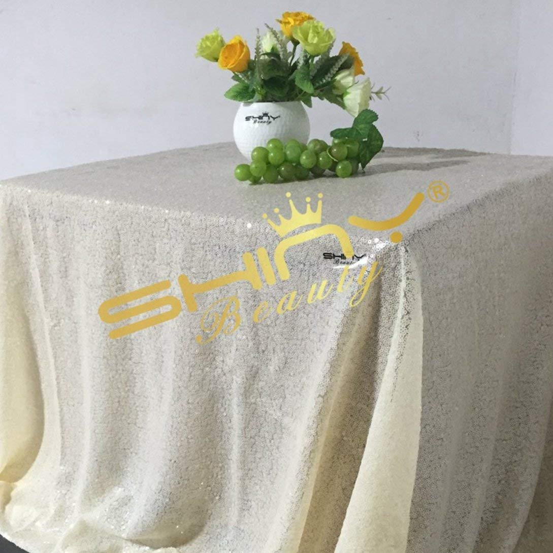 ShinyBeauty 90x132-Inch-Sequin Tablecloth-Rectangular-Ivory,6FT Table Dropping to Floor Wedding Table Linen/Cloth