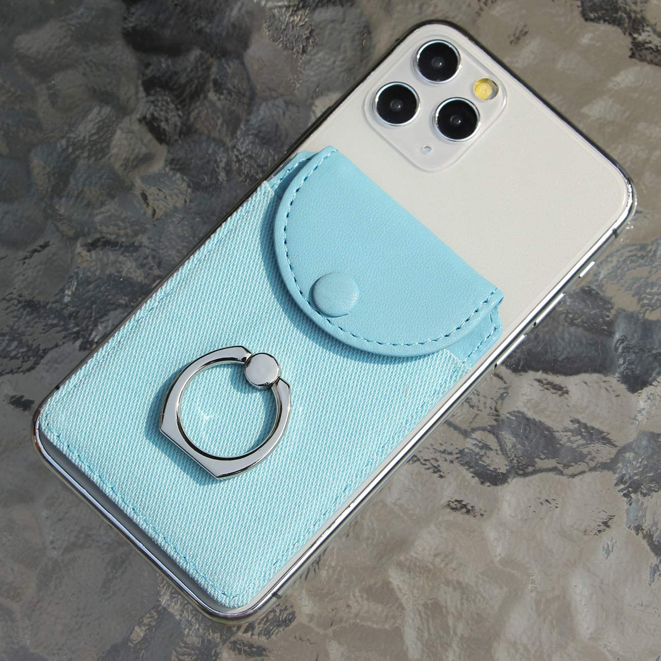 Finger Ring and Cell Phone Stick on Wallet Card Holder Phone Pocket for iPhone Finger Ring Ultra-Slim Self Adhesive Credit Card Holder Wallet Cell Phone Leather Wallet Grip Kickstand for Smartphone