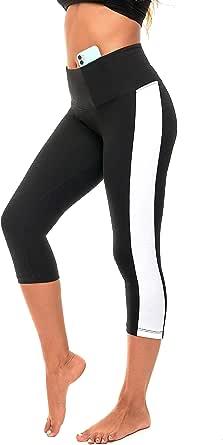 DEAR SPARKLE Cotton Leggings for Women High Waist Capri Workout Yoga Pants Plus Size (C7)