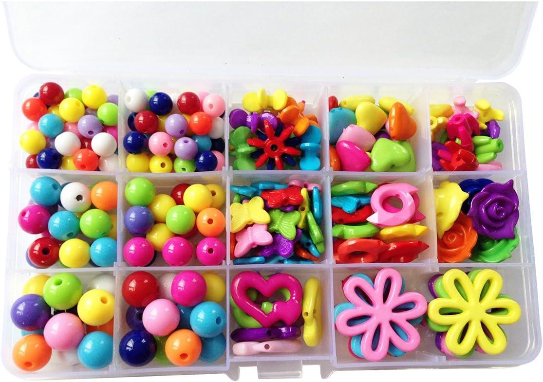 Eleery 15-Fach M/ädchen DIY Perlen Bastelset Handwerk Bunte Perlen zum auff/ädeln Kinder Holzperlen f/ür Armb/änder Schmuck Handgemacht Spielzeug ab 3 Jahre Geschenk
