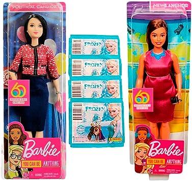 Amazon.es: Muñecas B.a.r.b.i.e Pack 2 You Can Be Anything (Reportera TV y Candidata Política) + Sobres de Pegatinas ...