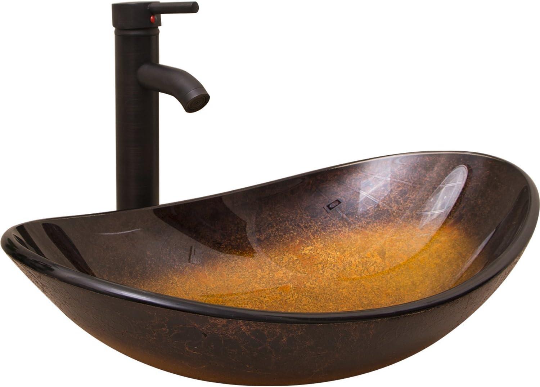 WALCUT Bathroom Modern Oval Artistic Glass Vessel Sink W Oil Rubbed Bronze Faucet and ORB Pop-up Drain Combo