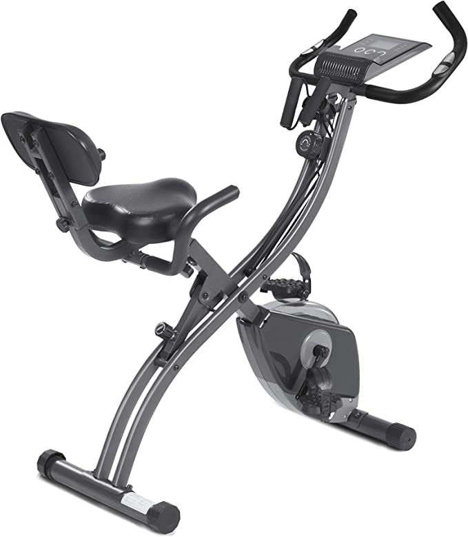 MaxKare Exercise Bike Stationary Bike Folding Exercise Bike Foldable Magnetic Upright Recumbent Bike Cycling 3 in 1 Exercise Bike with Arm Resistance Bands Perfect for Men and Women at Home