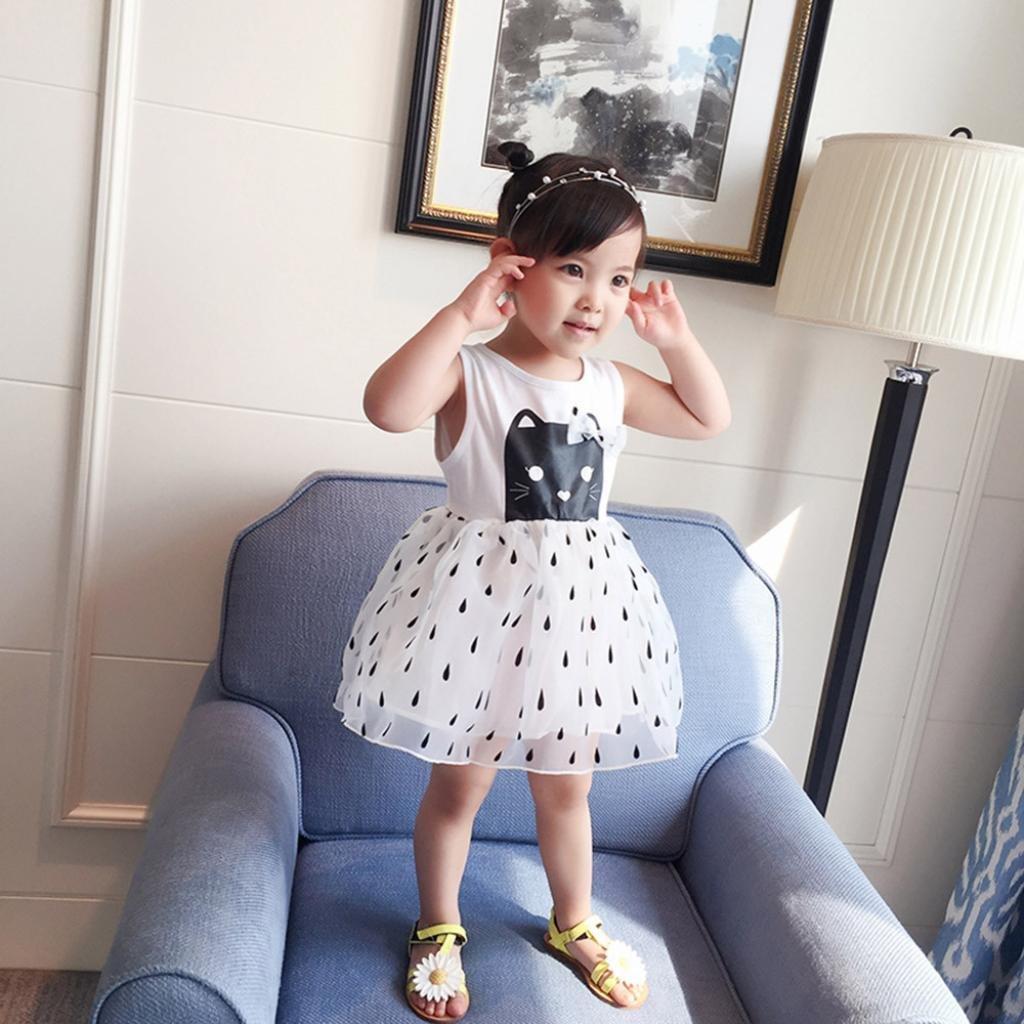 WensLTD Toddler Infant Baby Girls Sleeveless Lattice Flowers Print Mini Dress Sundress