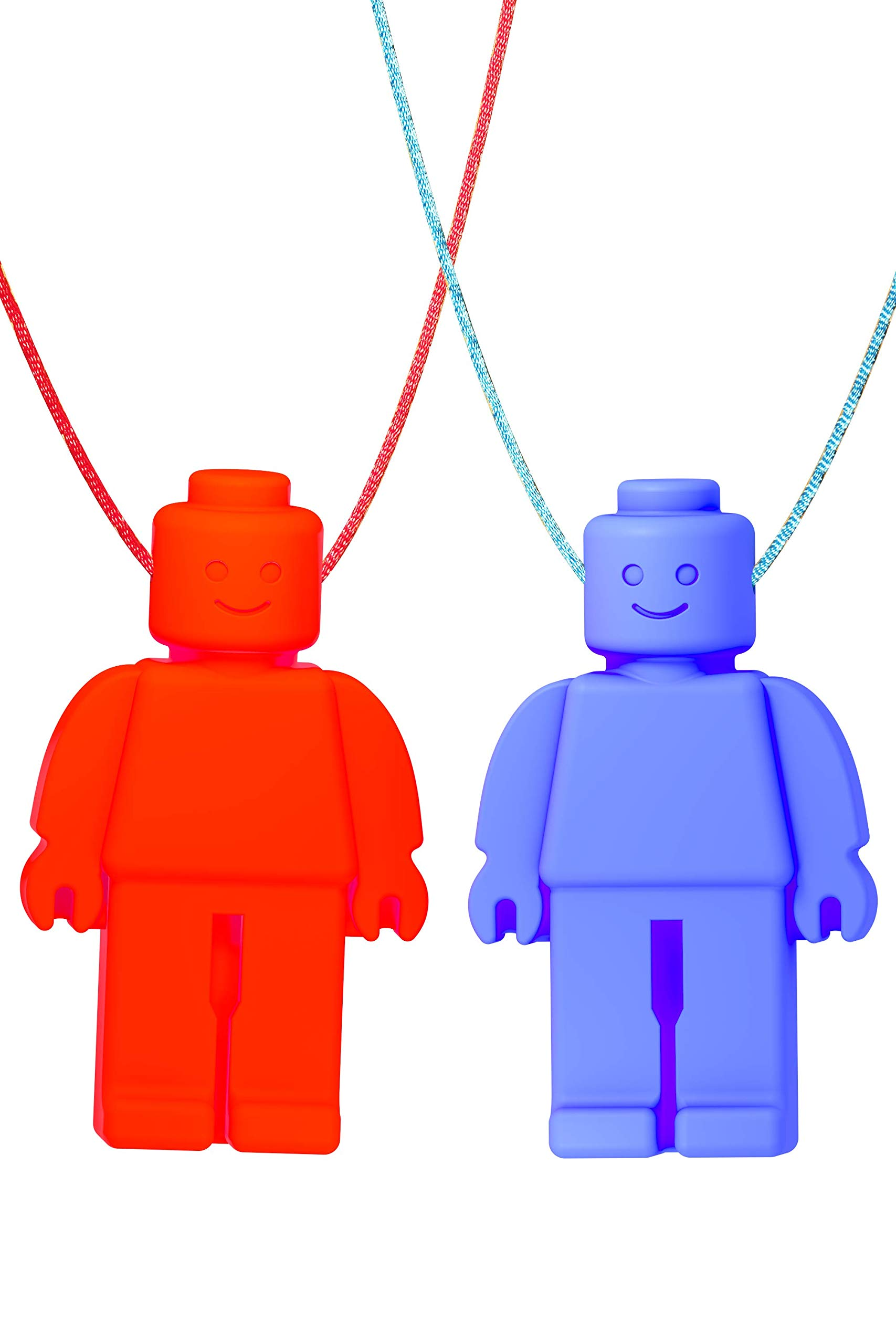 Chew Necklace (Block Buddies) by GNAWRISHING - 2-Pack (Red and Blue with Colored Cords) - Perfect for Autistic, ADHD, SPD, Oral Motor Children, Kids, Boys, and Girls (Tough, Long-Lasting)